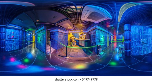 Minsk, Belarus May 15, 2013: The fantastic interior space playroom with aliens and cyborgs - full 360 panorama in equirectangular spherical projection in Hermitage hotel, VR content