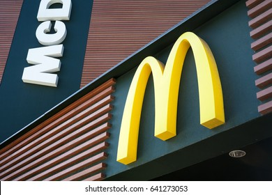 MINSK, BELARUS - May 15, 2017: McDonald's logo. McDonald's is the world's largest chain of hamburger fast food restaurants