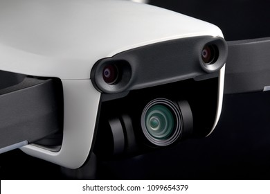 MINSK, BELARUS - MAY 17, 2018: DJI MAVIC AIR -  compact drone by DJI with 12 MP 4K HDR camera, mounted on a 3-axis gimbal. Camera and sensors view.