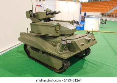 "Minsk, Belarus - MAY 18, 2019: International Exhibition of Arms and Military Equipment ""MILEX-2019"", new modern military battle robot complex ""Berserk"" with machine guns ""Gatling"" type ."
