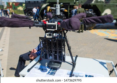 """Minsk, Belarus - MAY 18, 2019: International Exhibition of Arms and Military Equipment """"MILEX-2019"""", drone multicopter operator detection complex """"Groza O""""."""