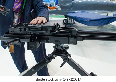 """Minsk, Belarus - MAY 18, 2019: International Exhibition of Arms and Military Equipment """"MILEX-2019"""", exposition of 50 caliber machine gun NSV-12,7 """"UTES""""."""