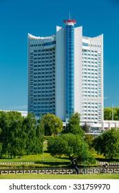 "MINSK, BELARUS - May 19, 2015: Hotel Building ""Belarus"" in district Nemiga (Nyamiha) in Minsk, Belarus"