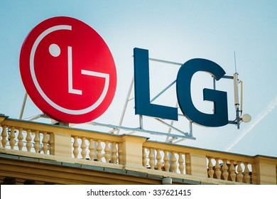 MINSK, BELARUS - May 20, 2015: Logo of LG (Lucky Goldstar) is a South Korean multinational conglomerate corporation. LG makes electronics, chemicals, and telecom products in over 80 countries.
