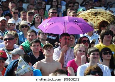 MINSK, BELARUS MAY 20: Unidentified soccer fans watching final cup match between FC NAFTAN and FC MINSK on May 20, 2012 in Minsk, Belarus