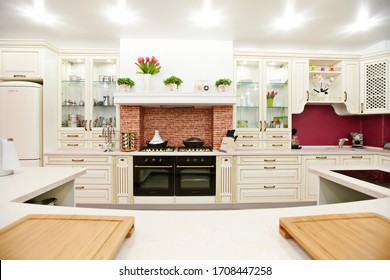 Minsk, Belarus - May, 2013: Classic design kitchen with white  elements