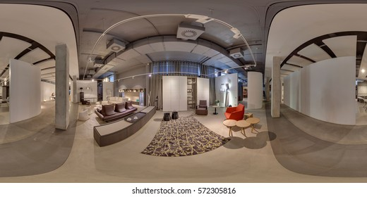MInsk, Belarus - may 2015: The interior of a luxury space - Full 360 degree panorama in equirectangular spherical projection. Photorealistic VR content