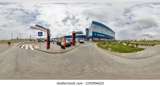 MINSK, BELARUS - MAY, 2017: full seamless spherical panorama 360 degrees angle view near trade center and fast cafe and parking in  equirectangular spherical projection. skybox vr ar content