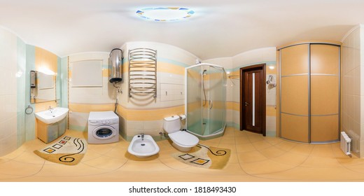 MINSK, BELARUS - MAY, 2017: full seamless hdri panorama 360 degrees angle view in interior of bathroom in modern flat loft apartments in equirectangular projection with zenith and nadir. VR AR content