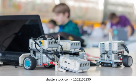 "Minsk, Belarus. May, 2018. ""5th Minsk Open Robotics Tournament"". Robotics competitions. Robot Lego Mindstorms EV3. Education of children and teenagers. STEM."