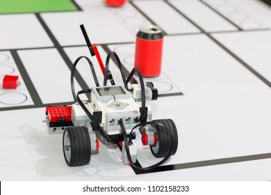 "Minsk, Belarus. May, 2018. ""5th Minsk Open Robotics Tournament"". Robotics competitions. Robot Lego Mindstorms EV3. Education of children and teenagers. STEM."