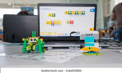 "Minsk, Belarus. May, 2018. ""5th Minsk Open Robotics Tournament"". Robotics competitions. Boys and girls construct and code Robot Lego WeDo 2.0. STEM education."