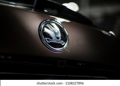 Minsk, Belarus May 2018 brand skoda emblem logo sign on auto during autoexhibition on skoda kodiaq