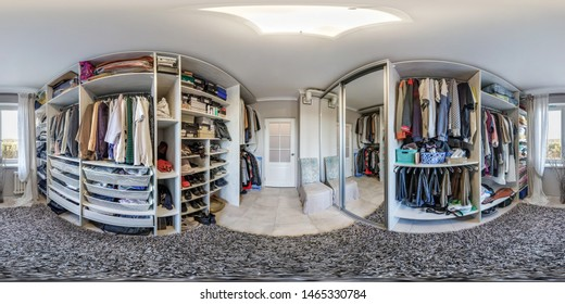 MINSK, BELARUS - MAY, 2018: full seamless spherical hdri panorama 360 degrees angle in interior of big wardrobe room in modern apartment in equirectangular cube projection VR AR content