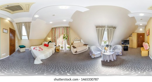 MINSK, BELARUS - MAY, 2018: full seamless spherical hdri panorama 360 degrees angle in interior of boudoir room for newlyweds in elite hotel in equirectangular cube projection VR AR content