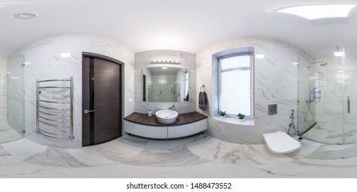 MINSK, BELARUS - MAY, 2018: full seamless hdri panorama 360 degrees angle view in interior of bathroom in modern flat loft apartments in equirectangular projection with zenith and nadir. VR AR content