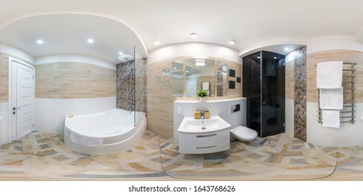 MINSK, BELARUS - MAY, 2018: full seamless hdri panorama 360 degrees angle view in interior of bathroom in modern flat apartments in equirectangular projection with zenith and nadir. VR AR content