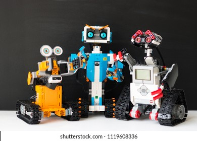 Minsk, Belarus.  May, 2018. Lego Boost Robot Vernie VS Lego Mindstorms EV 3 Wally VS Jimu Robot Ubtech. Robotics class for child and teen. School.  Mathematics. Chemistry. STEM education.
