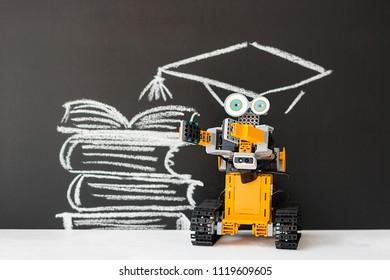 Minsk, Belarus - May, 2018: Ubtech Jimu Robot. Robotics. School. Image is in the background. Concept. High intelligence. STEM education.