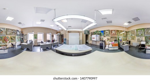 MINSK, BELARUS - MAY, 2019: Full spherical seamless hdri panorama 360 degrees angle view inside interior of architectural design bureau with mock buildings in equirectangular projection, VR AR content