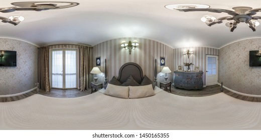 MINSK, BELARUS - MAY, 2019: Full spherical seamless hdri panorama 360 degrees angle view inside interior of master bedroom of modern apartments of hotel in equirectangular projection, VR AR content