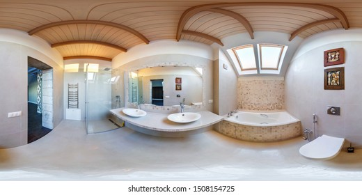 MINSK, BELARUS - MAY, 2019:  full seamless spherical hdri panorama 360 angle view in interior bathroom in modern mansard flat apartments in equirectangular projection with zenith and nadir. VR content