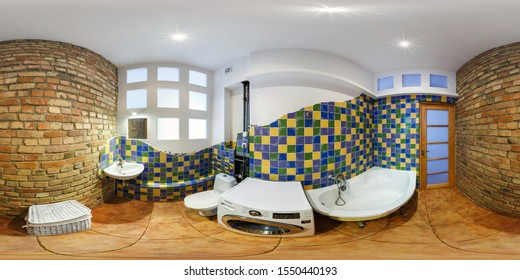MINSK, BELARUS - MAY, 2019:  full seamless spherical hdri panorama 360 angle view in interior bathroom with brick walls in apartments in equirectangular projection with zenith and nadir. VR content