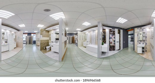 MINSK, BELARUS - MAY, 2019: Full spherical seamless hdri panorama 360 degrees angle inside interior in shop showroom of elite plumbing and household goods in equirectangular projection, VR AR content