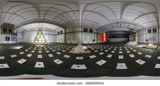 MINSK, BELARUS - MAY 2020: full seamless spherical hdri panorama 360 in interior of large empty room as exhibition gallery of contemporary art in industrial warehouse in equirectangular projection.