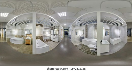 MINSK, BELARUS - MAY, 2020: Full spherical seamless hdri panorama 360 degrees angle inside interior in showroom of elite plumbing in equirectangular projection, VR AR content