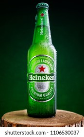 MINSK, BELARUS - MAY 21, 2018: Heineken Lager Beer is a pale lager beer with 5% alcohol by volume produced by the Dutch brewing company Heineken International.