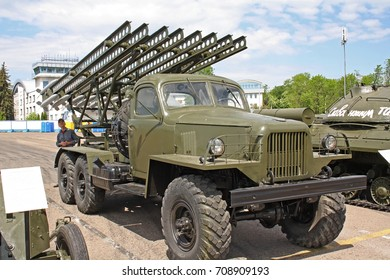 MINSK, BELARUS - MAY 22, 2017: Belarussian Military Exhibition on May 22, 2017 in Minsk, Belarus. MILEX is exhibition of modern arms and military equipment with exposition of military retro vehicles.