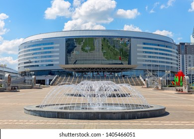 Minsk, Belarus, May 23, 2019: the Minsk Arena complex is the main sports facility for games in Minsk, Belarus
