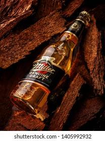 MINSK, BELARUS - May 23, 2019: Miller Genue Draft Beer bottle. Miller Genuine Draft is original cold filtered beer, owned by SABMiller