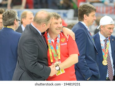 MINSK, BELARUS - MAY 25: ZNAROK Oleg, Head Coach of Russia after 2014 IIHF World Ice Hockey Championship final at Minsk Arena