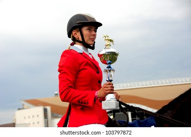 MINSK, BELARUS - MAY 27: Anna Gromzina from Russia is the winner in (CSIO2*-W 160 ??) during KAP JUMPING HORSE SHOW 2012 on May 27, 2012 in Minsk, Belarus.