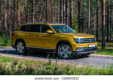 MINSK, BELARUS - MAY 28, 2018: Volkswagen Teramont (known as Atlas in the USA) parked outside on a forest road during a test-drive event. Teramont / Atlas is a three-row seven-seater crossover.
