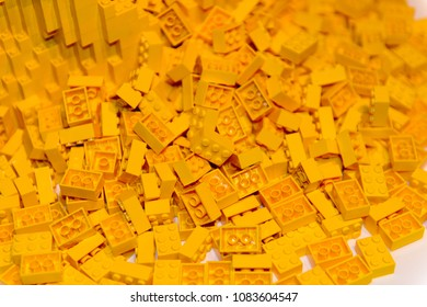 MINSK, BELARUS - MAY 3, 2018: Yellow Lego pieces at the exhibition in Minsk