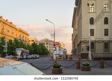 Minsk, Belarus - May 30 2018: Minsk City center. Traffic on Lenina Street in the evening. Famous tourist place