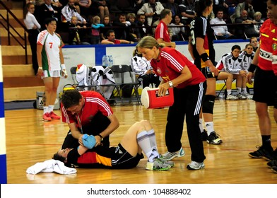 MINSK, BELARUS - MAY 30: Anna LERPER (Germany 10) is injured during European Championship qualifying match (Belarus Germany) on May 30, 2012 in Minsk, Belarus