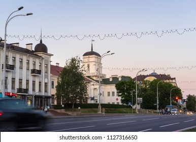 Minsk, Belarus - May 31 2018: Beautiful white building of the old Town Hall located in historical city center. Lenina Street, Upper Town, Minsk