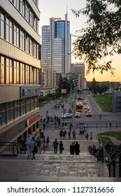 Minsk, Belarus - May 31 2018: Minsk City center with modern office buildings. Nyamiha is famous tourist place as well with shops and food courts