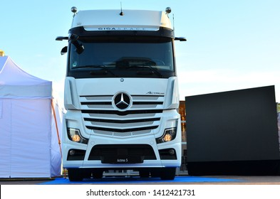 MINSK, BELARUS - MAY 31, 2019: New 2019 Mercedes-Benz Actros 1863 Sleeper Truck at the exhibition of trucks in Minsk Mercedes-Benz Actros, first truck with no side mirrors.