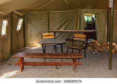MINSK, BELARUS - MAY 4, 2018: Interior of Militar tent, Historic cultural complex called Stalin Line (fortifications along the western border of the Soviet Union)