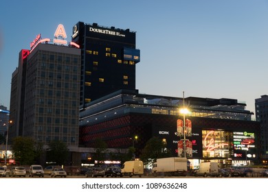 Minsk, Belarus - May 4 2018: Newly built Galleria Minsk shopping mall and DoubleTree by Hilton hotel in the evening. Nemiga district, Minsk City