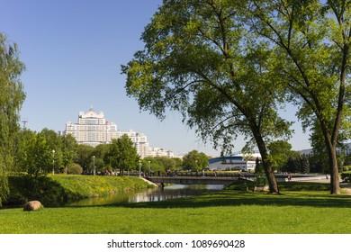 Minsk, Belarus - May 6 2018: Central park view summer time with famous residential complex At Troitsky. Starostinskaya Sloboda Park, Minsk City