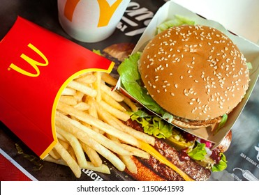 Minsk, Belarus, May 6, 2018: Big Mac hamburger menu in McDonald's restaurant.