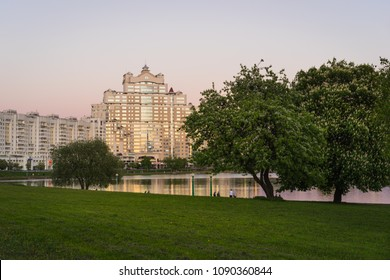 Minsk, Belarus - May 7 2018: Residential complex At Troitsky viewed from Central Park. Svislach River embankment, Minsk City