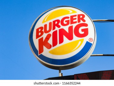 Minsk, Belarus - may 7, 2018: Burger King signboard against blue sky