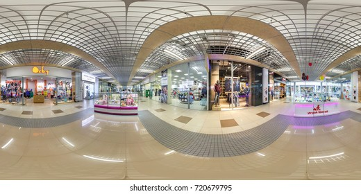 MINSK, BELARUS - MAY 8, 2015: Panorama in interior stylish modern trade centre. Full spherical 360 by 180 degrees seamless panorama in equirectangular equidistant projection. Photorealistic VR content